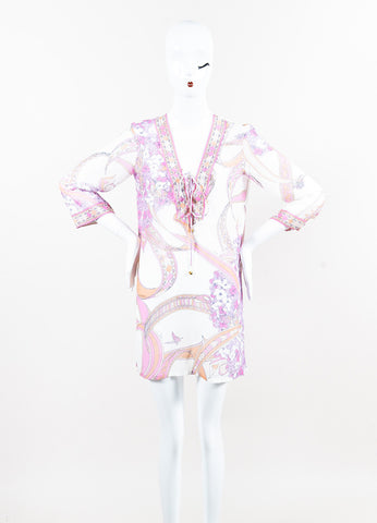 Emilio Pucci White Pink Purple Cotton Silk Half Sleeve Tie Cover Up Front