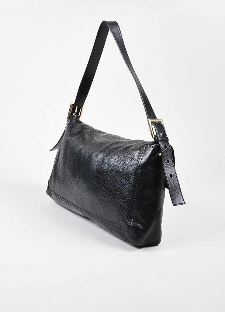Black Fendi Leather Oversized Baguette Shoulder Bag Back