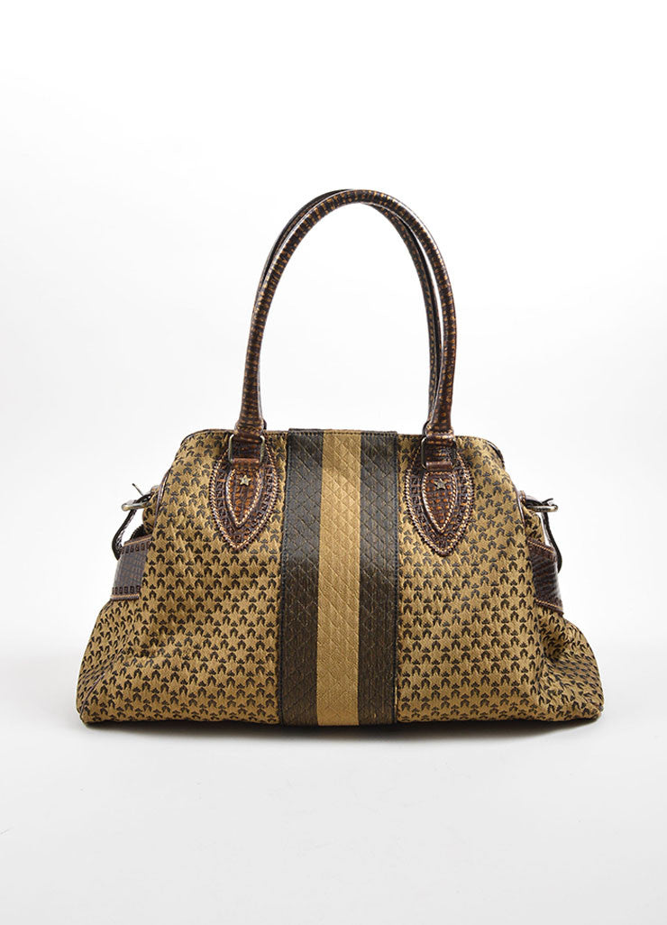 Fendi Brown and Taupe Brocade Leather Trim Patterned Satchel Bag Frontview