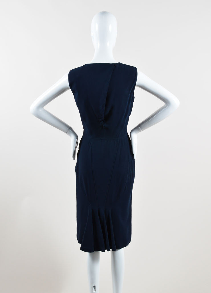 Givenchy Navy Blue Sleeveless Ruffle Hem Shift Dress Backview