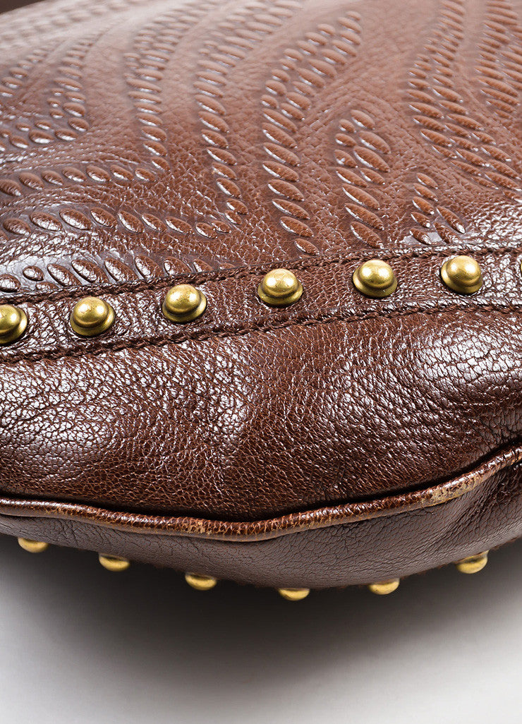 "Brown Gucci Leather Embossed Studded ""Pelham"" Bag Detail"