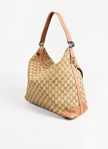 "Gucci Brown and Tan Monogram Canvas Leather Trim ""Miss GG"" Hobo Shoulder Bag Sideview"