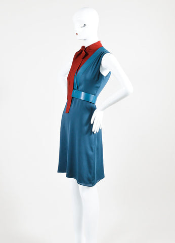 Blue and Red Gucci Silk Leather Trim Layered Bow Belted Dress Sideview