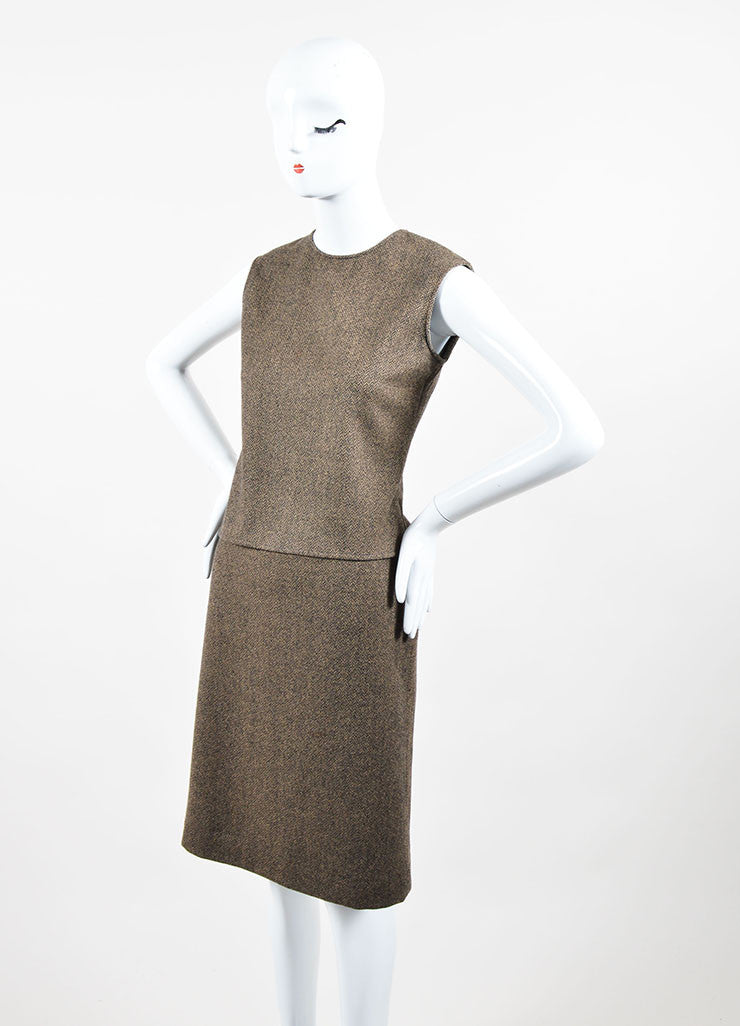 Brown and Cream Hermes Wool and Cashmere Patterned Shell Top and Pencil Skirt Set Sideview