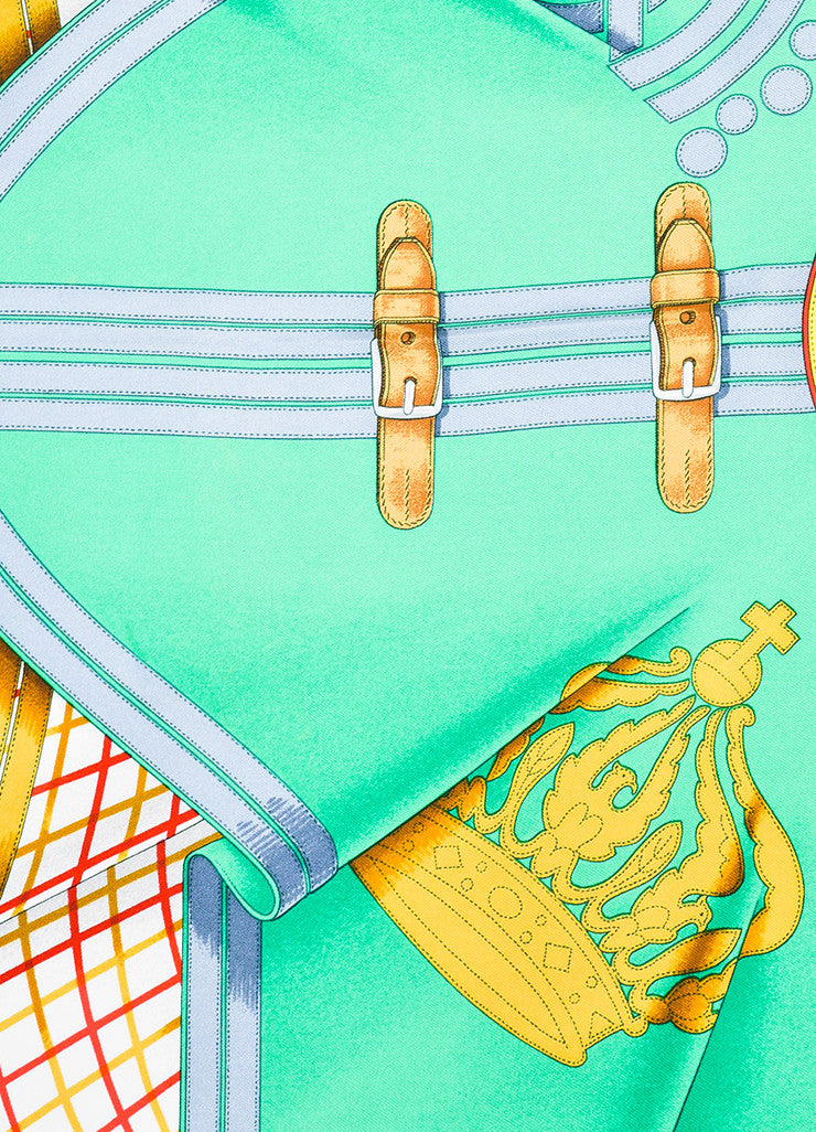 "Hermes Green, Blue, and Gold Silk ""Grande Tenue"" Dragon Crown Buckle Print Scarf Detail"