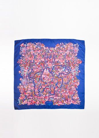 "Hermes Navy Blue and Pink Silk Animal Print ""Legende Moghole"" Square 90cm Scarf Frontview 2"