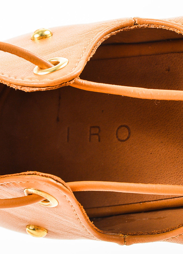 "IRO Camel Leather Studded Laced Up ""Xiri"" Flat Gladiator Sandals Brand"