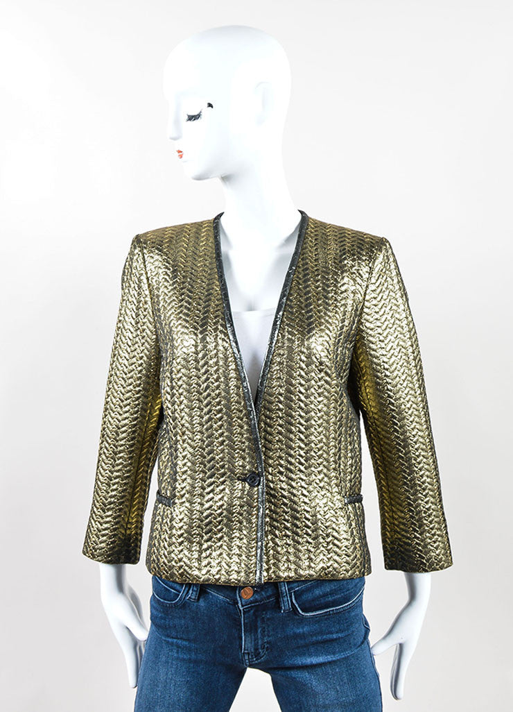 Isabel Marant Metallic Gold Quilted Three Quarter Sleeve Jacket Frontview