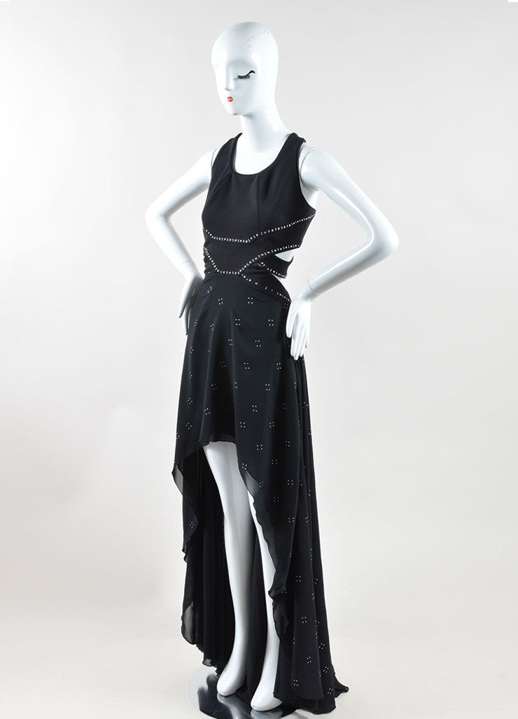 Jay Ahr Black Silver Tone Studded S/L Cut Out High Low Gown  Sideview