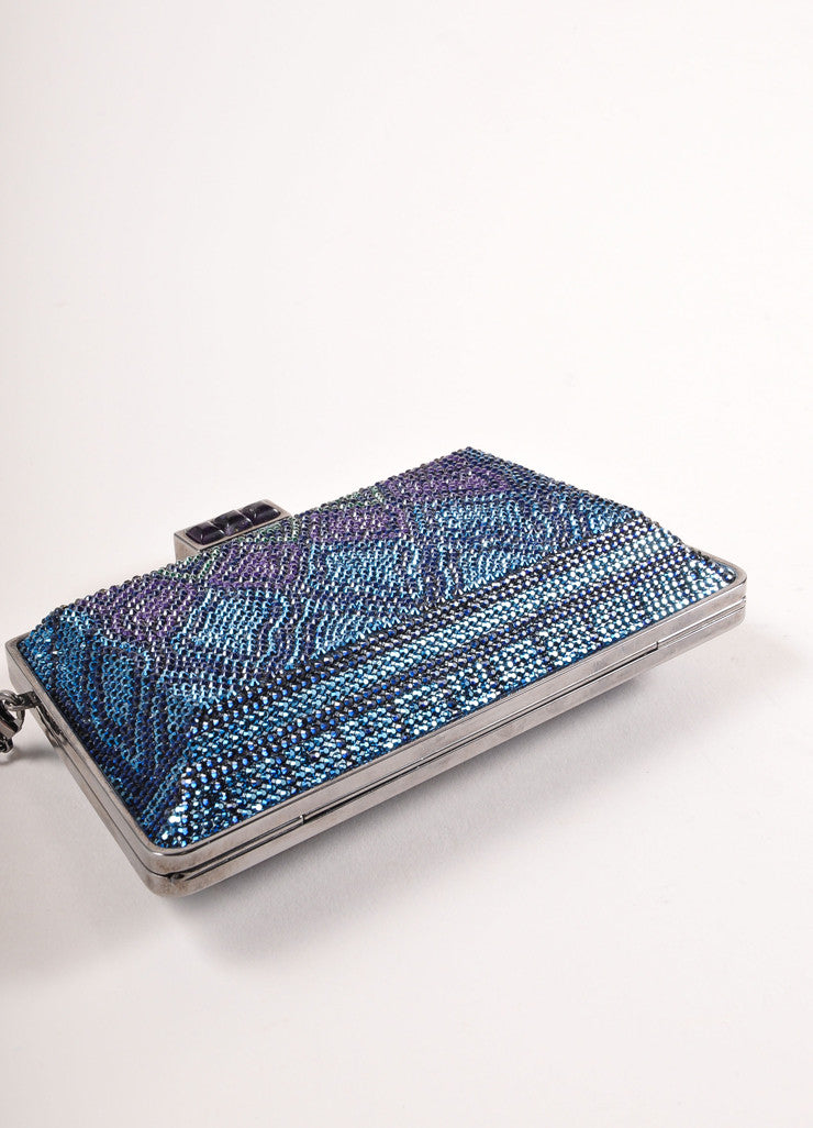 Judith Leiber New With Tags Blue, Purple, and Green Crystal Encrusted Minaudiere Clutch Bag Bottom View