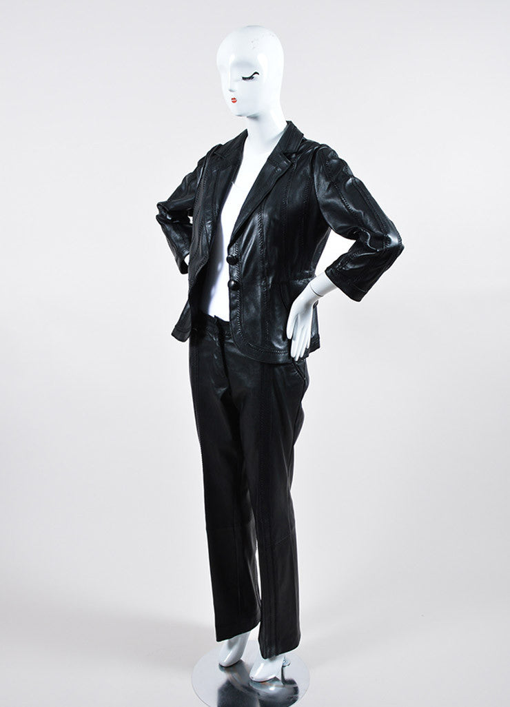 Just Cavalli Black Leather Pant Suit Sideview