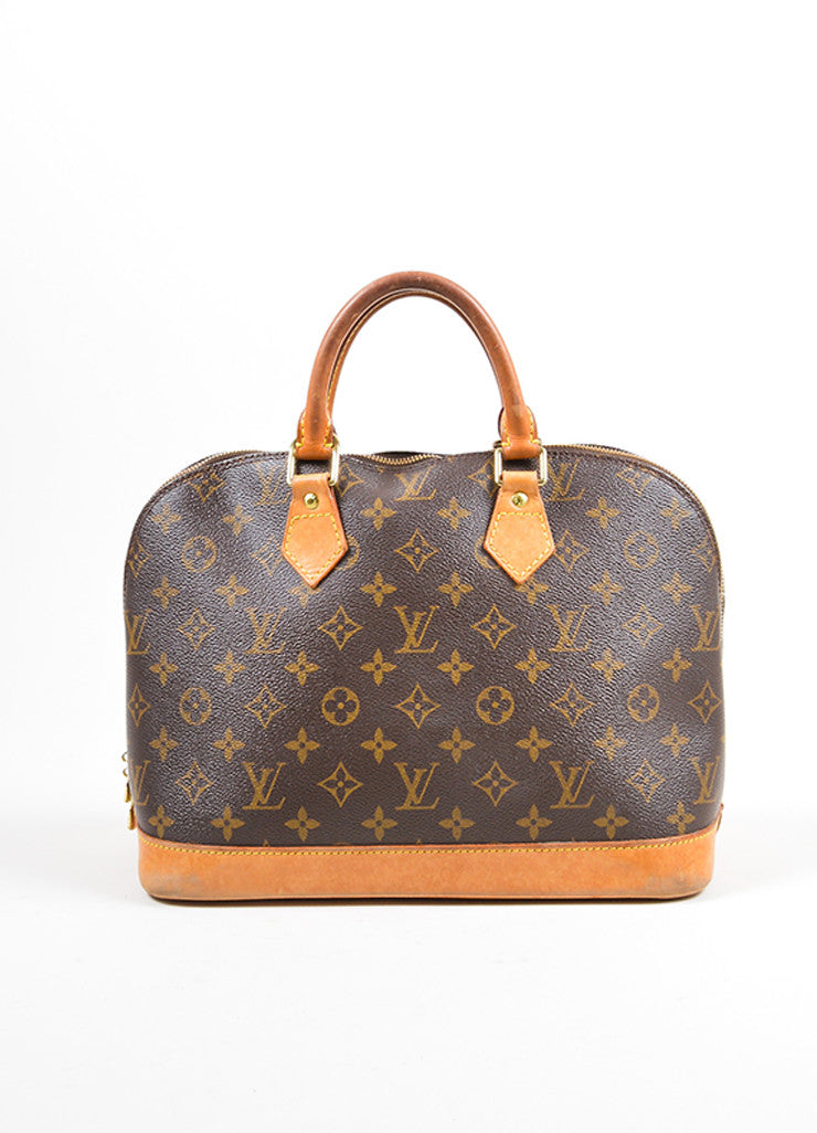 "Brown Louis Vuitton Monogram ""Alma PM"" Zip Satchel Bag Front"