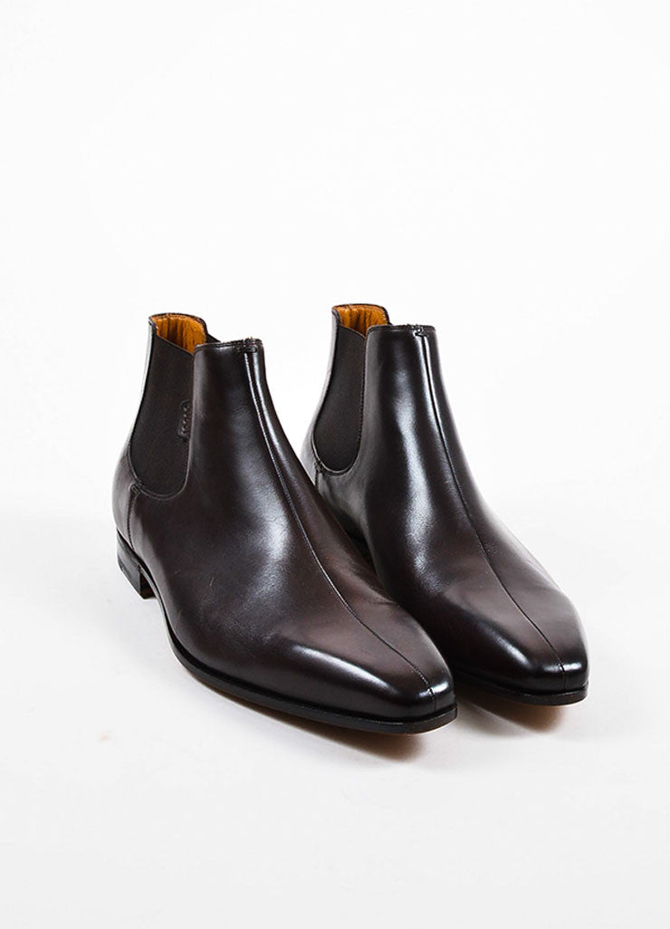 Men's Gucci Brown Leather Square Toe Pull On Chelsea Boots Frontview