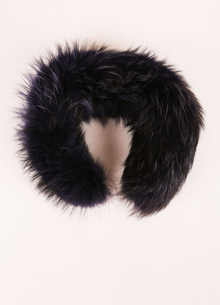 Marc Jacobs Navy Blue Raccoon Fur Scarf Collar Frontview