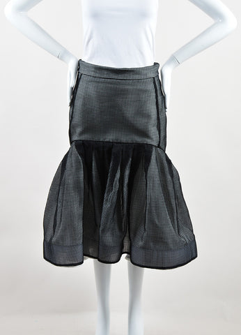 Maticevski Black and White Mesh Window Pane Pleated Skirt Frontview
