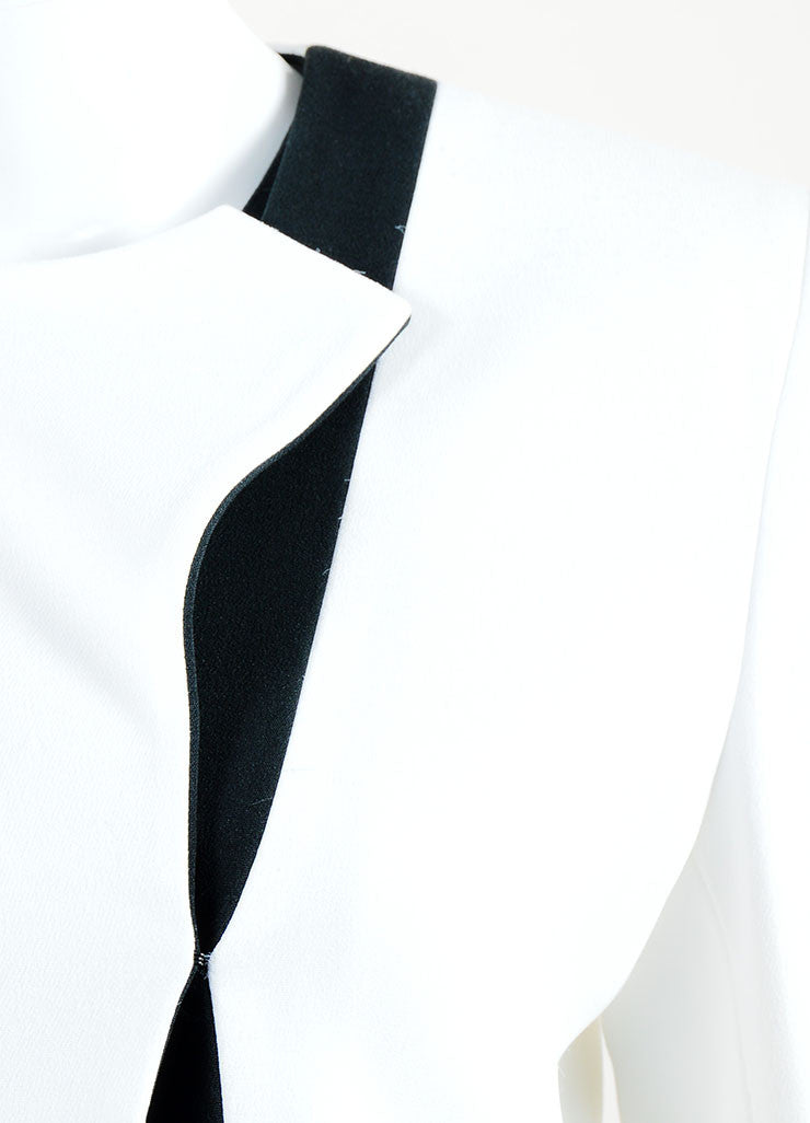 White and Black Crepe Two Tone Narciso Rodriguez Structured Jacket Brand