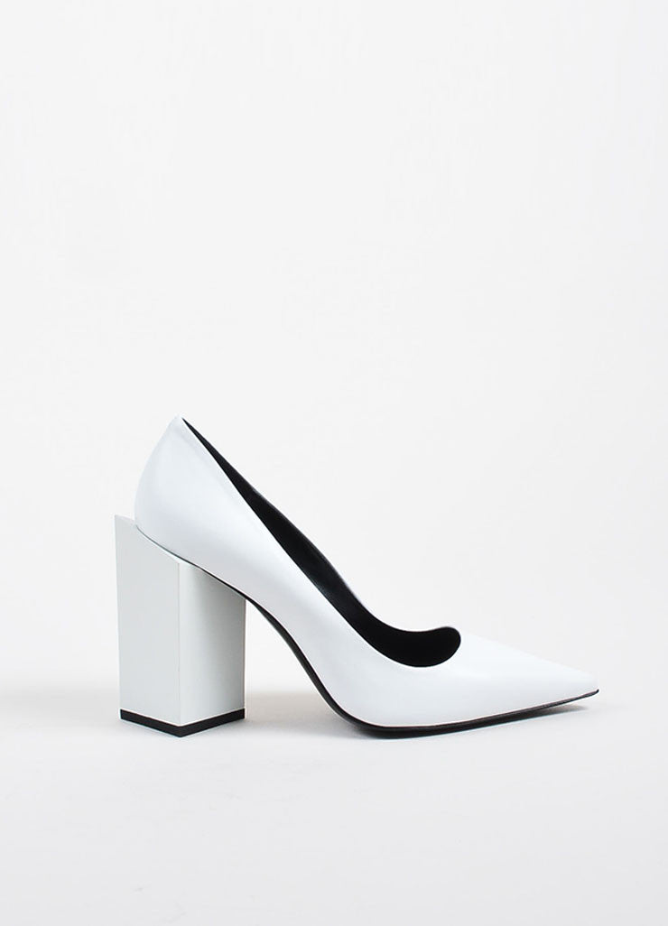 "White Leather Pierre Hardy ""Monolite"" Chunky Heel Pointed Pumps Sideview"