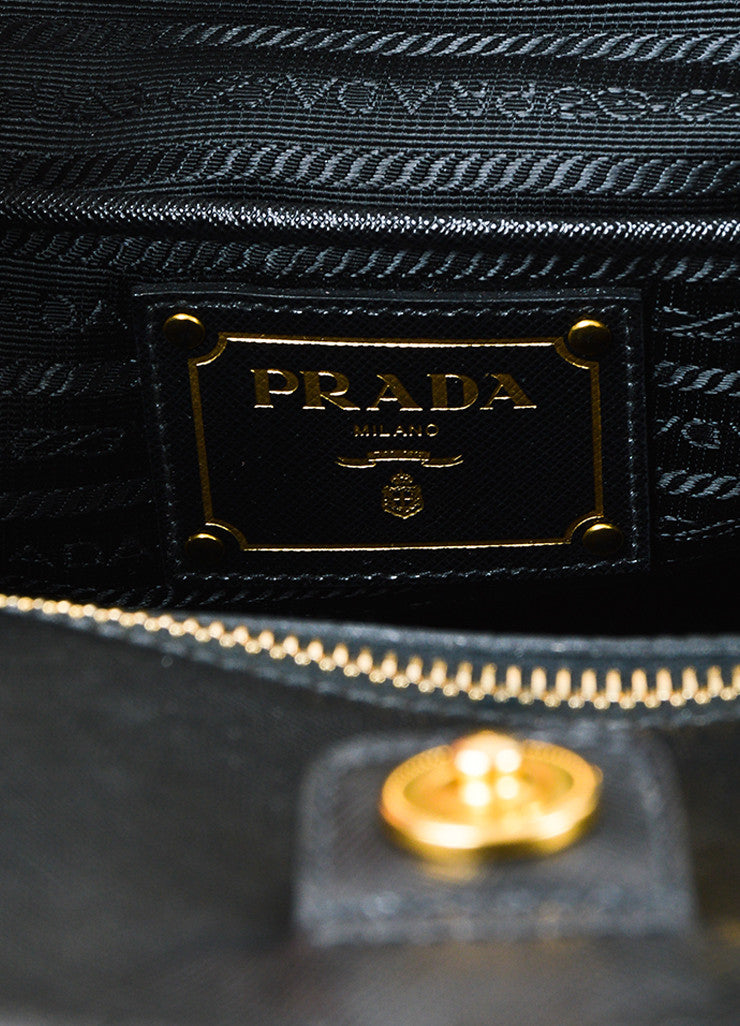 "Prada Black and Cream Tweed Saffiano Leather Trim ""North South"" Tote Bag Brand"