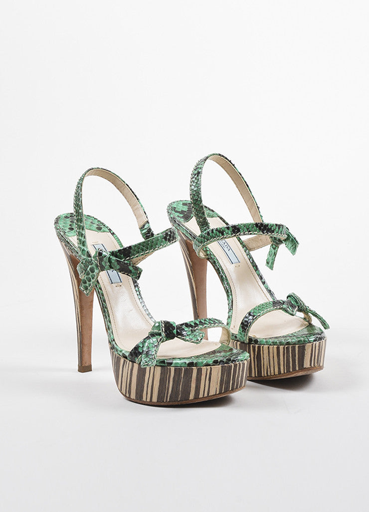 Prada Green, Brown, and Beige Python and Wood Bow Strap Platform Sandals Frontview