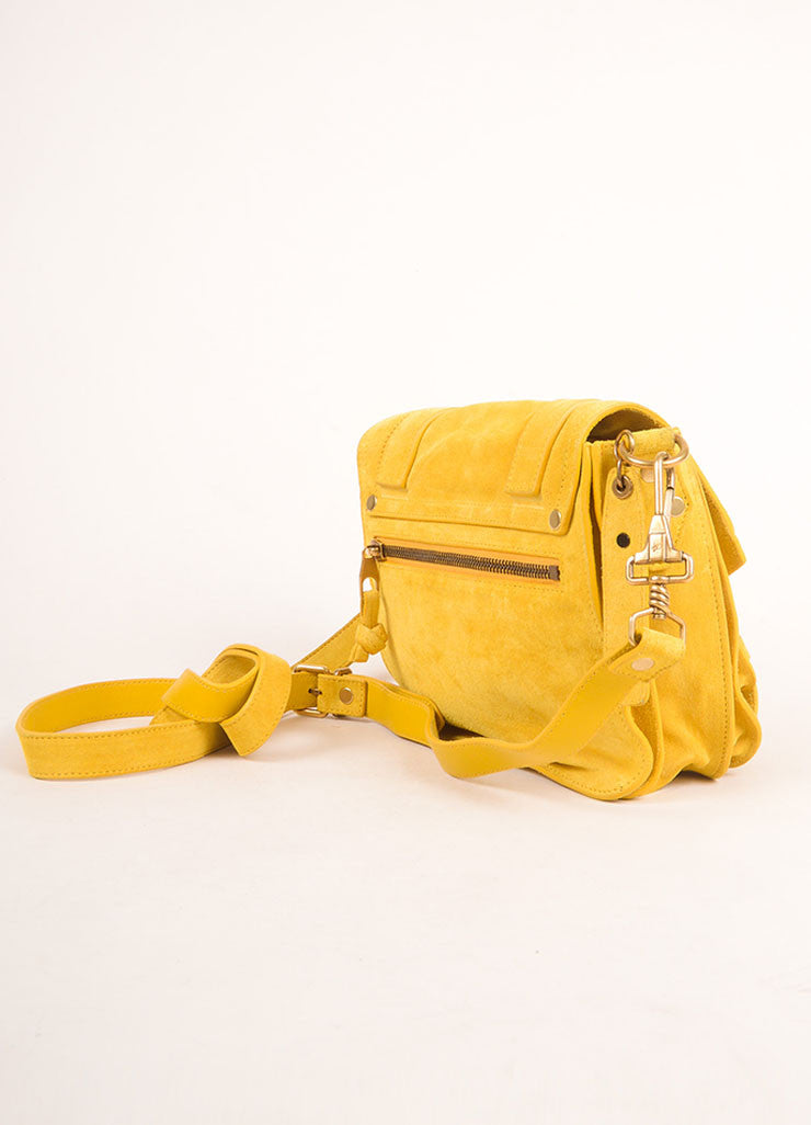 "Proenza Schouler Dark Yellow Suede ""PS1"" Small Messenger Crossbody Bag Sideview"
