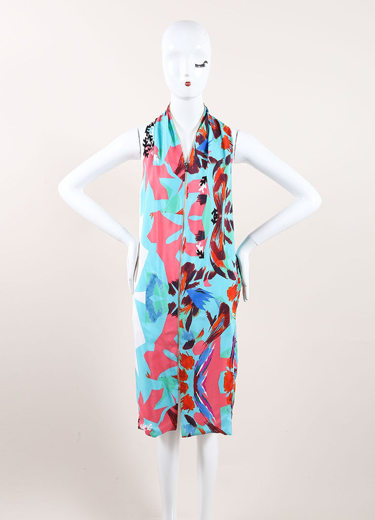"Roland Mouret New With Tags Blue, Pink, and Multicolor Zip Up Silk ""Hadar"" Dress Frontview"