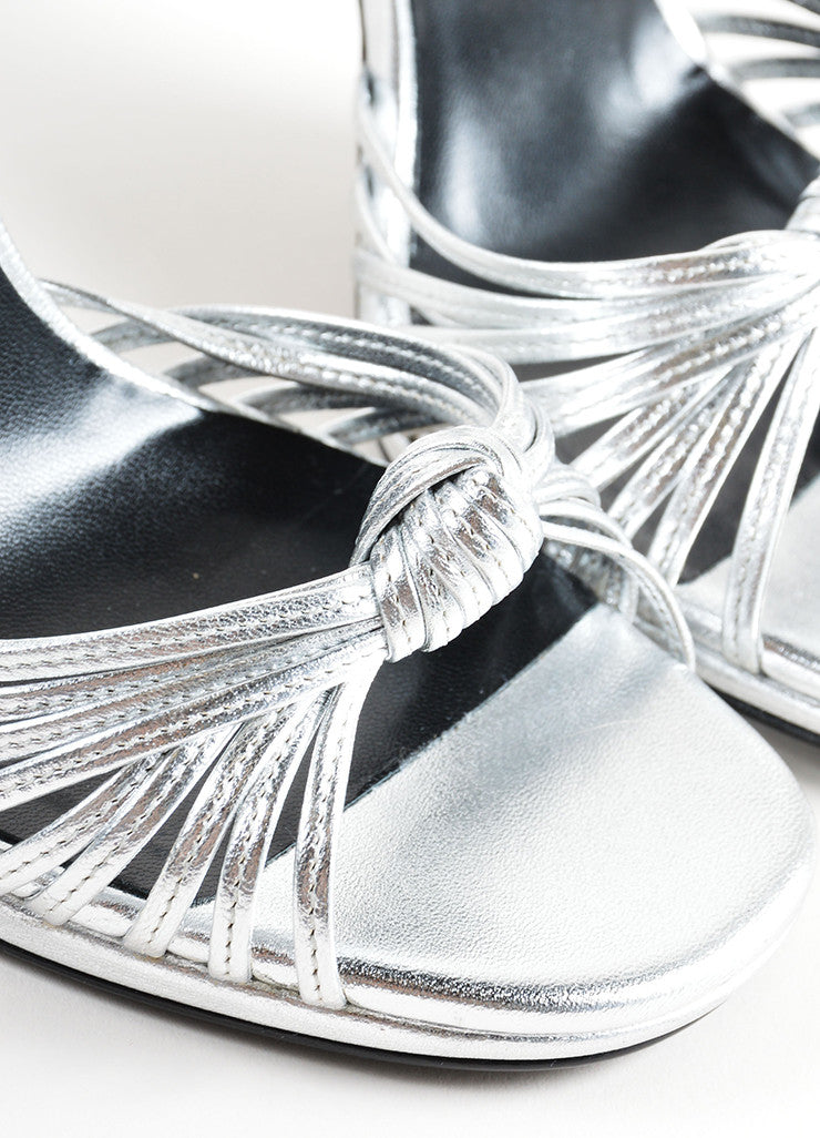 Saint Laurent Silver Leather Knotted High Heel Sandals Detail