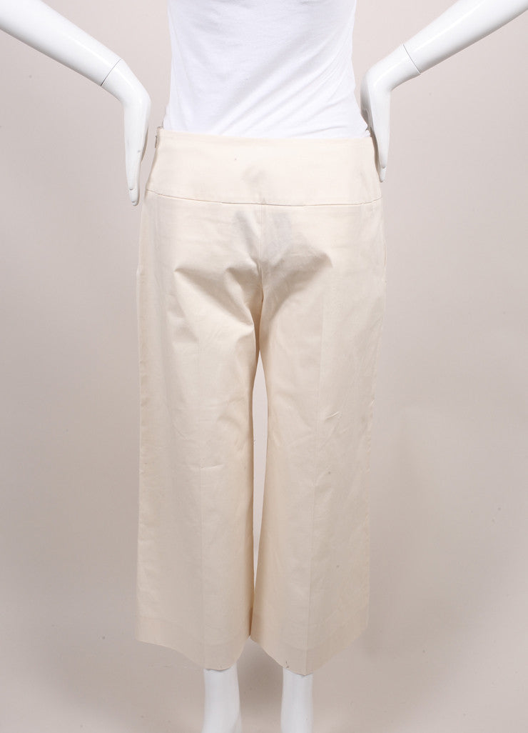 "The Row New With Tags Cream Stretch Cotton Twill Cropped Wide Leg ""Crosha"" Pants Backview"