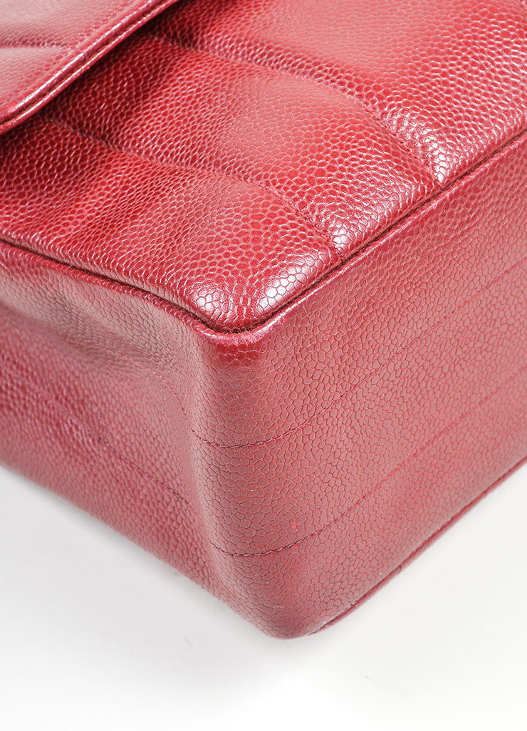 Maroon Chanel Caviar Leather Turnlock Jumbo Flap Bag Detail