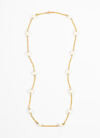 Chanel Gold Toned Metal Faux Pearl Crystal Strand Necklace Frontview