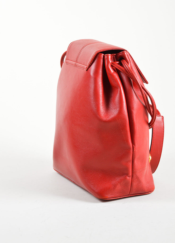 Givenchy Red Leather Gold Toned Studded Bucket Bag Sideview
