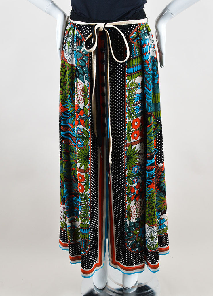 Lanvin Multicolor Linen Patterned Button Front Maxi Skirt Frontview