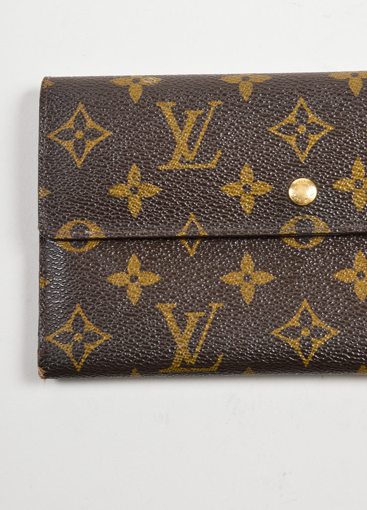 "Brown and Tan Louis Vuitton Monogram ""Porte-tresor International"" Long Wallet Detail 2"