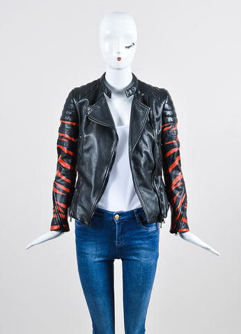"Black and Red 3.1 Phillip Lim Leather ""Tiger"" Striped Quilted Moto Jacket Frontview"