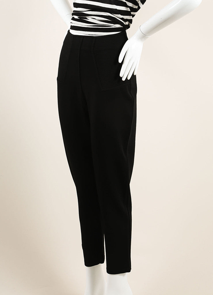 Alaia Black Stretch Knit Ribbed Trim High Waisted Legging Riding Pants Sideview