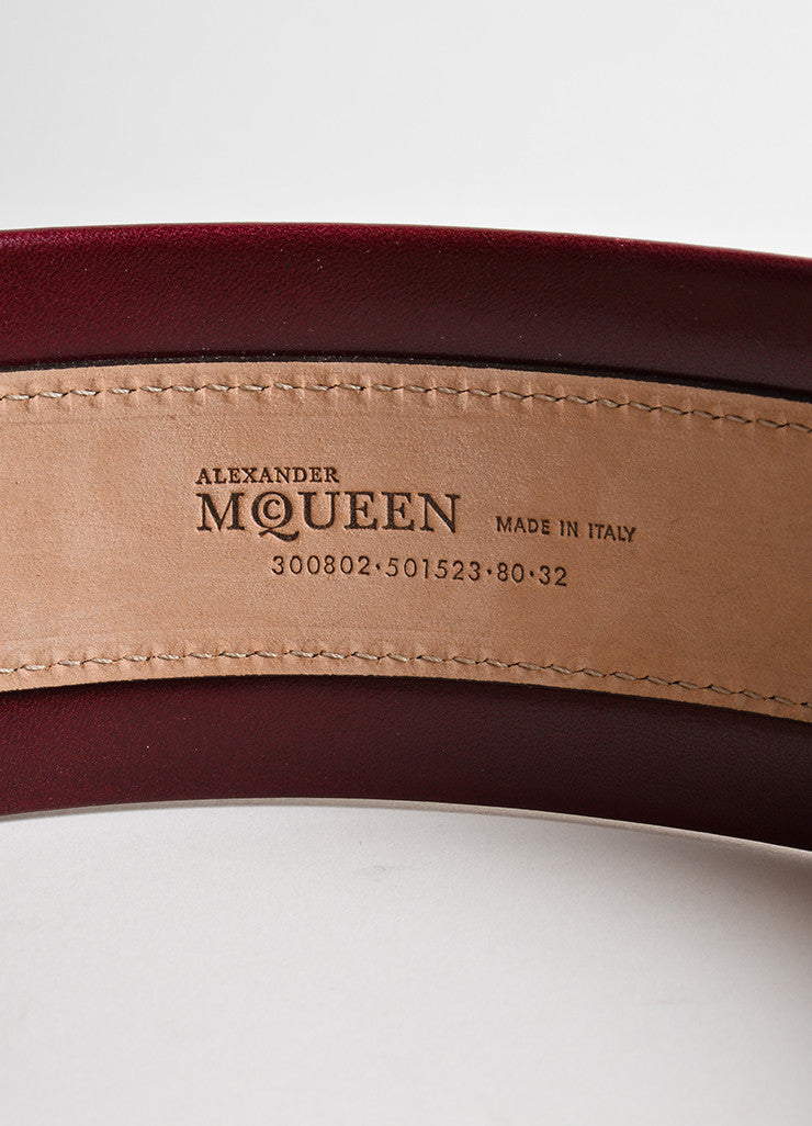 Alexander McQueen Oxblood Red Leather Traditional Wide Belt Brand