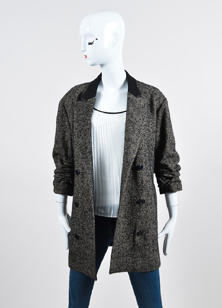 Alexander Wang Black and Grey Wool and Alpaca Blend Herringbone Coat Frontview