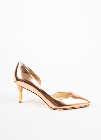 "B Brian Atwood Metallic Rose Gold Leather Pointed Toe ""Macias"" Pumps Sideview"