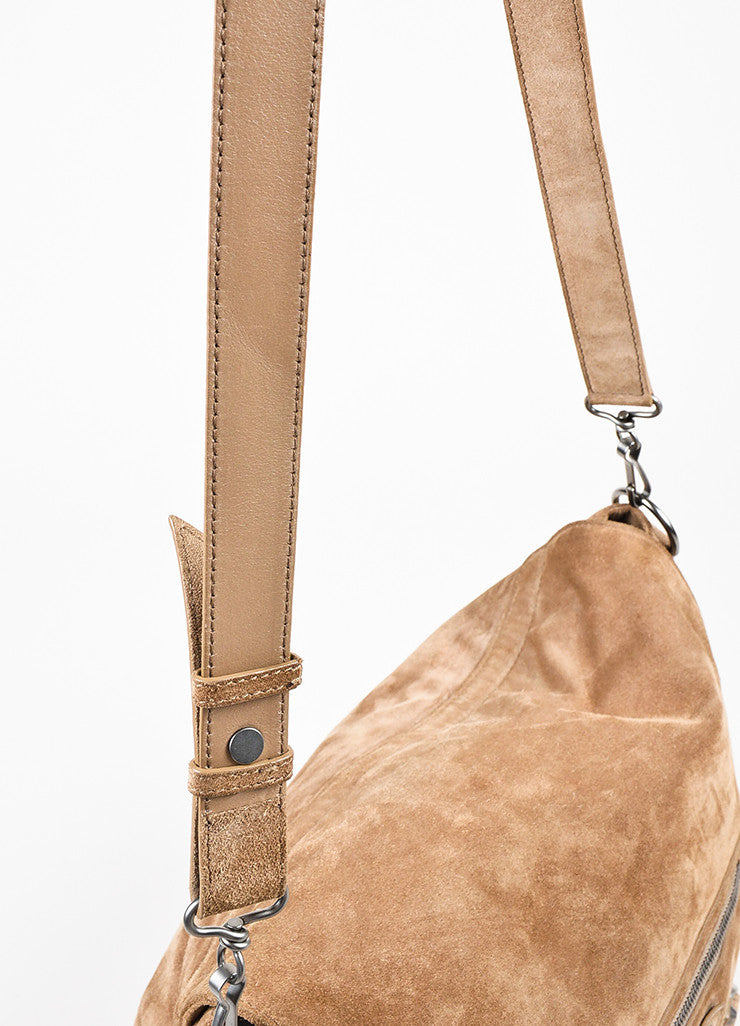 "Balenciaga Camel Suede Studded Crossbody ""Neo Folk"" Messenger Bag Detail 2"