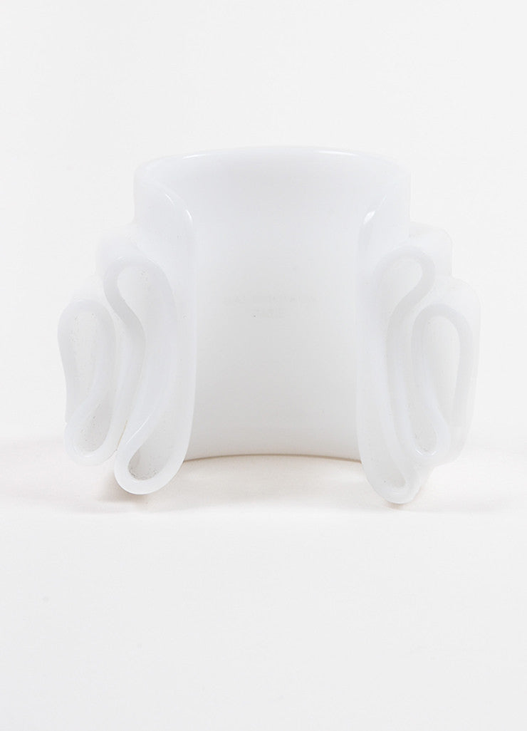 "Balenciaga White Resin Chunky Statement ""Drape"" Cuff Bracelet Backview"