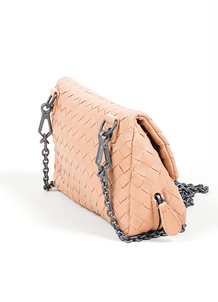 "Blush Pink Bottega Veneta ""Small Chain Intrecciato"" Nappa Cross Body Bag Sideview"