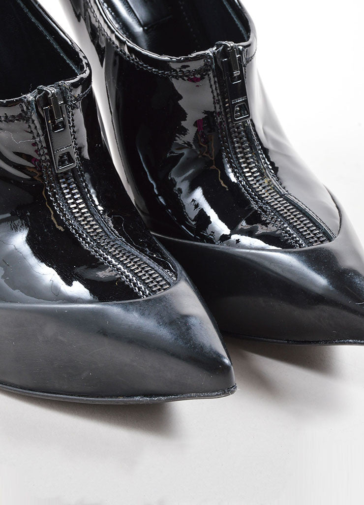 Burberry Prorsum Black Patent Leather Pointed Toe Zip Platform Booties Detail