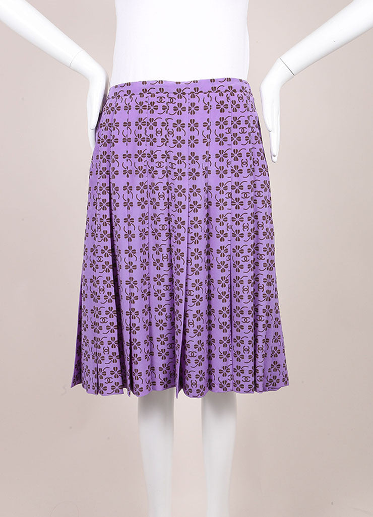 "Chanel Lavender Purple and Brown Silk Clover ""CC"" Logo Pleated Skirt Frontview"