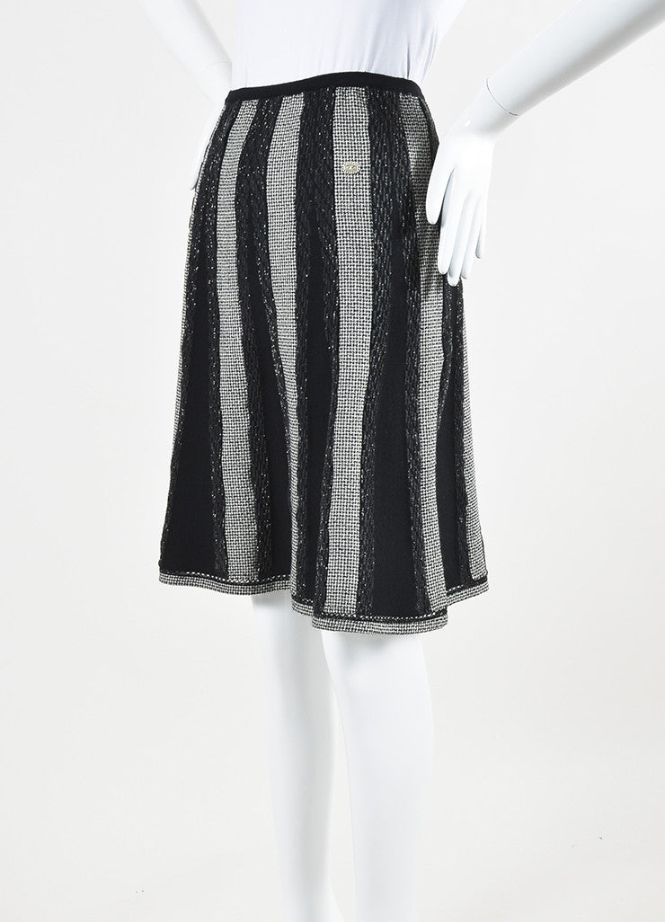 Black and White Chanel Wool Blend Houndstooth Metallic Stripe Skirt Sideview