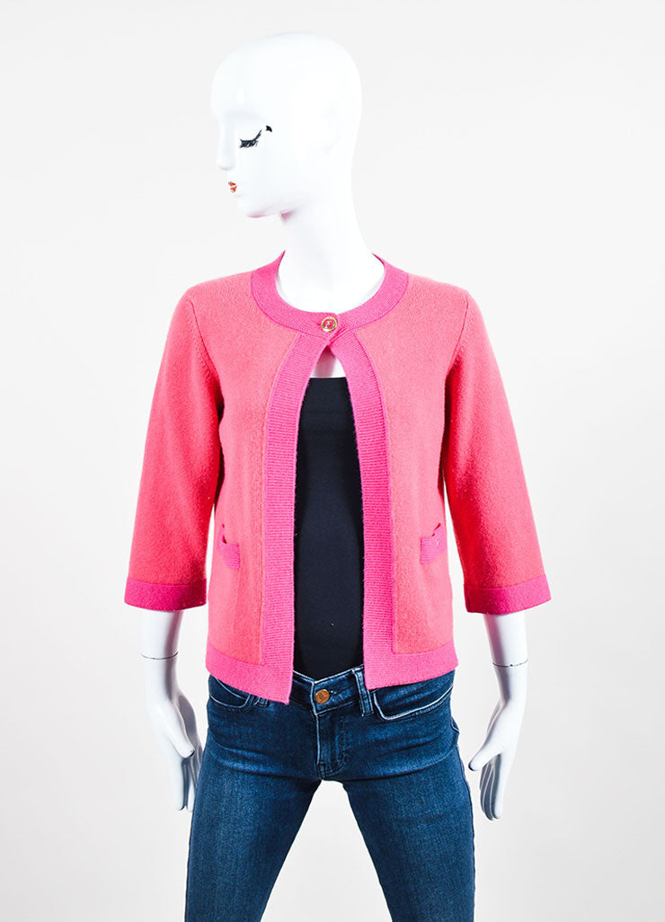 Pink Chanel 07P Cashmere Knit 'CC' Button Cardigan Sweater