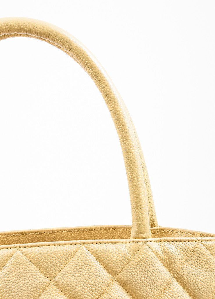 "Chanel Beige Caviar Leather 'CC' ""Medallion"" Tote Handbag Detail 2"