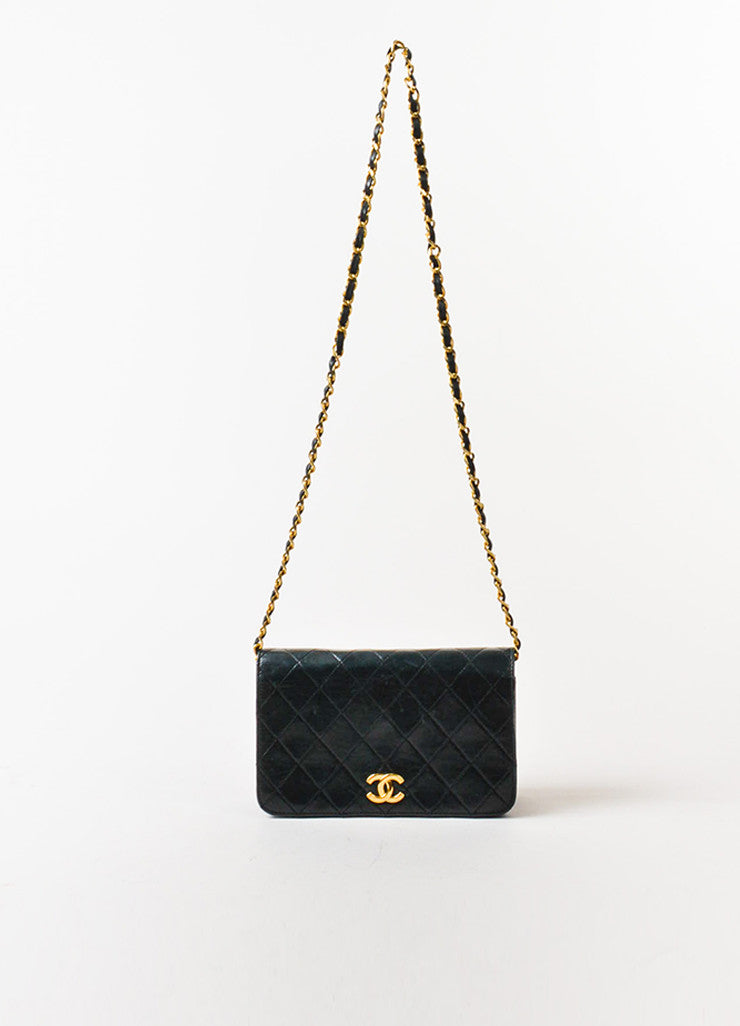 "Chanel Black Leather Quilted Single Flap Chain Strap ""CC"" Mini Bag Frontview"
