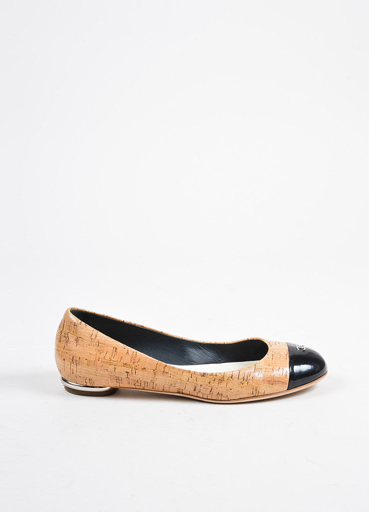 Tan, Black, and Silver Toned Chanel Cork and Leather Cap Toe Ballerina Flats Sideview