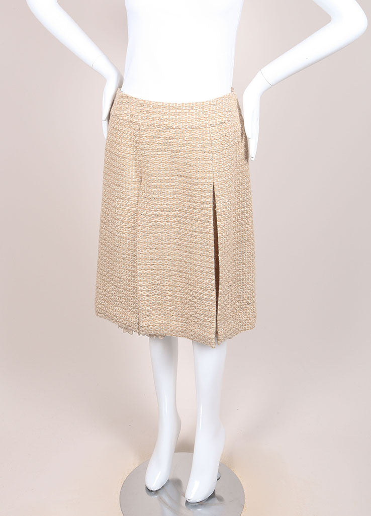 Chanel Tan, Gold, and Cream Wool and Alpaca Tweed and Chiffon Sequin Pleated Skirt Sideview