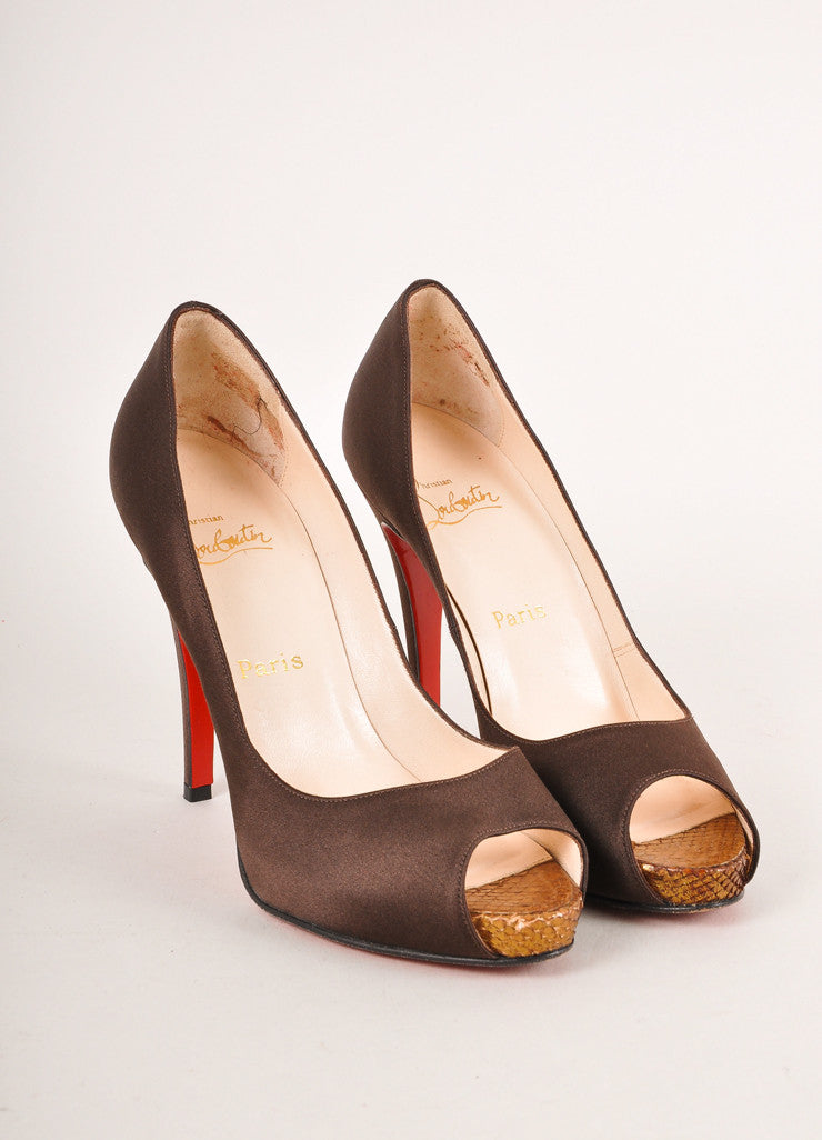 "Christian Louboutin Brown Peep Toe ""Very Prive 120"" Snake Satin Pumps Frontview"