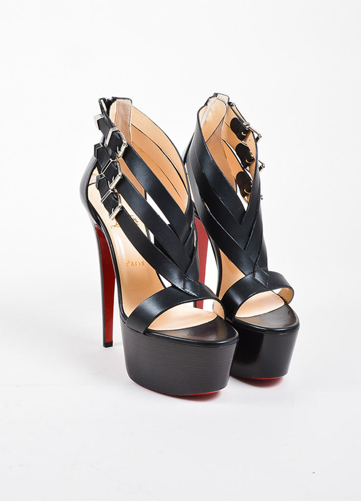 "Black Leather Christian Louboutin ""Charleze"" Platform Sandals Frontview"
